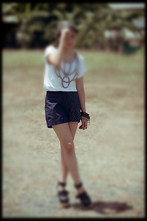 hat - navy shorts - dark brown bracelet - wedges - blouse