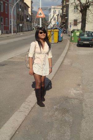 blouse - shorts - stockings - boots - earrings - DKNY accessories