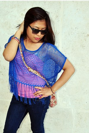 blue lace H&M top - bubble gum Accessorize bag - blue Pimkie pants