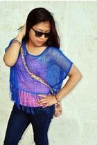 blue lace H&M top - bubble gum Accessorize bag - blue Pimkie pants