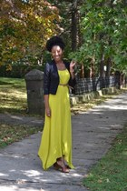 chartreuse maxi dress Spiegel dress - black cropped H&M blazer