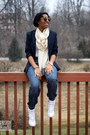 Navy-navy-urban-outfitters-blazer-blue-h-m-jeans-cream-forever-21-scarf