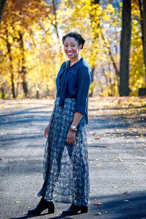 Nine West boots - navy Forever 21 skirt - blue Forever21 blouse