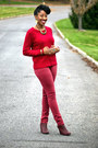 Maroon-wedged-forever-21-boots-brick-red-levis-jeans