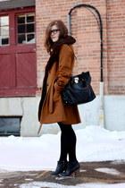 light brown vera moda coat - black Joe Fresh boots - black H&M dress