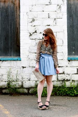 light blue jack skirt - ivory vintage purse - black Nine West sunglasses