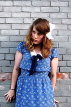 blue Urban Outfitters dress - white hairbow