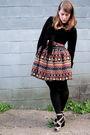 Orange-primark-skirt-black-hue-tights-black-urban-planet-sweater-black-joe