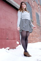 brown volatile boots - heather gray RW & Co sweater - charcoal gray HUE tights -