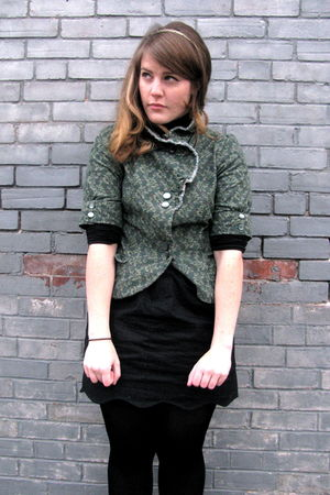 black Urban Outfitters skirt - green Urban Outfitters blazer - black HUE tights