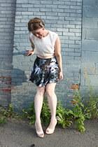 ivory vintage top - neutral Charlotte Russe heels - gray jack bb dakota skirt