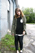 Esley top - green sws outerwear jacket - Joe Fresh jeans - black payless shoes