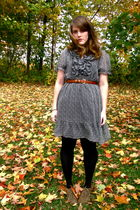 brown volatile boots - gray H & M dress - brown thrifted belt - black HUE tights