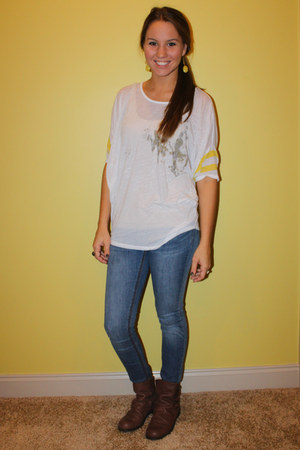 t-shirt free people blouse - leather Nine West boots