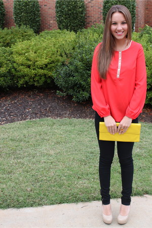 red francescas blouse - yellow patent leather HoBo International purse