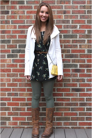 Frye boots - bird print McAuleys dress - kohls tights