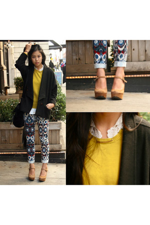 aztec print Zara pants - neon yellow Jcrew sweater - Urban Outfitters wedges