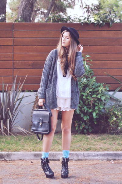 heather gray Rag and Bone cardigan - black asos boots - black coach bag