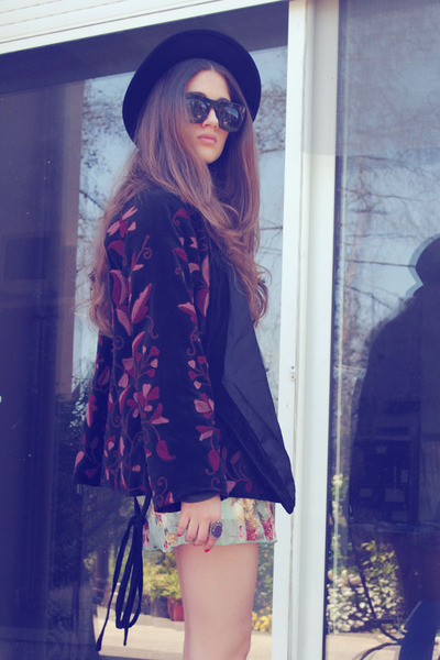 black vintage jacket - light blue ARAFEEL skirt