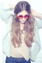 blue H&M jeans - periwinkle Zara jacket - nude H&M shirt - vintage sunglasses -