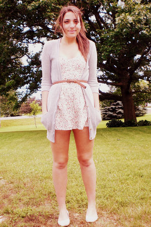 gray American Eagle cardigan - white Urban Outfitters romper - white Urban Outfi