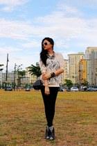 black pleather Zara leggings - black small Mango bag - ivory lace Topshop top -