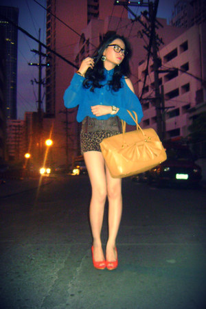 mustard Rockwell Bazaar bag - dark brown random shorts - blue sheer cut out The