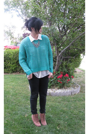 Love by Design sweater - Forever 21 shirt - Urban Outfitters wedges