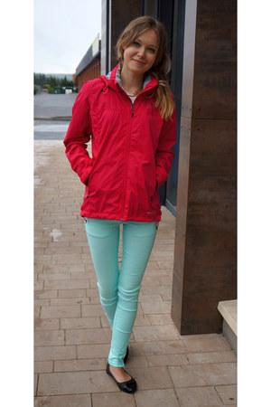 hot pink Adidas coat - aquamarine NN jeans