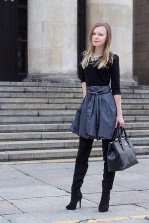 black Zara coat - black Wittchen bag