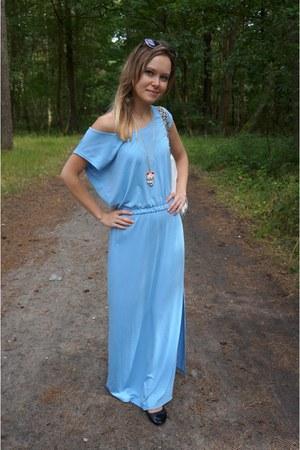 blue PresKA dress - white nike bag - black Stradivarius sunglasses