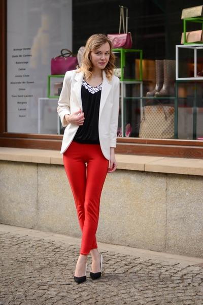 white Sheinside jacket - black AX Paris top