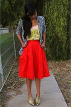 navy JCrew blouse - chartreuse JCrew top - orange Anthropologie skirt - gold sho
