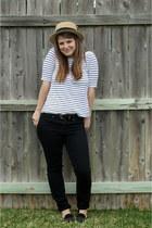 black skinny Gap jeans - light brown boater Target hat