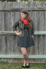 Black-polka-dotted-wal-mart-dress-olive-green-utility-loft-jacket