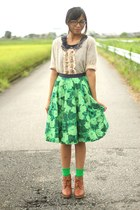lime green Anthropologie skirt - tawny Uniqlo boots