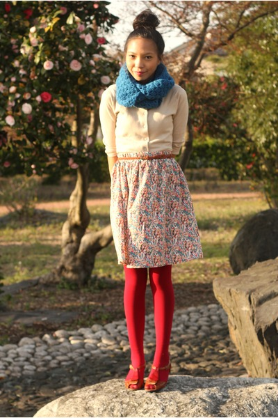beige Nordstrom sweater - ruby red Forever 21 tights - blue thick knit handmade