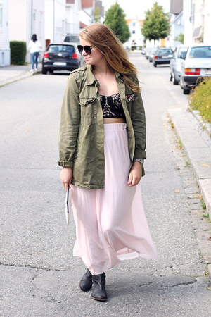 jacket Zara jacket - bralet BikBok top - maxi skirt Tally Weijl skirt