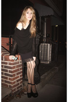 Helmut Lang sweater - striped Urban Outfitters tights - leather Gee WaWa wedges