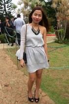 heather gray Topshop dress - black 255 Chanel bag - gold Forever 21 necklace - b