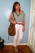pink Topshop pants - gray Mango top - brown Zara purse - gold Forever21 necklace