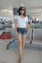 white H&M shirt - blue H&M shorts - beige sm department store hat - brown My mom
