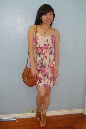 beige sm department store dress - brown Mango purse - brown Pill shoes - gold ra
