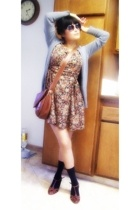francisco biasa purse - vintage dress - seychelles shoes - Mossimo sweater