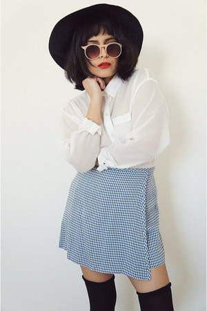 skortgingham skirt - white H&M blouse