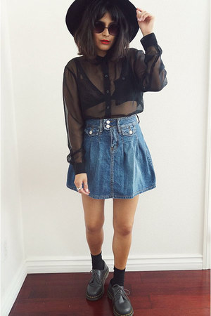 skirt - Dr Martens shoes - sheer black H&M top