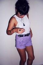 minkpink shorts - random top - vintage belt