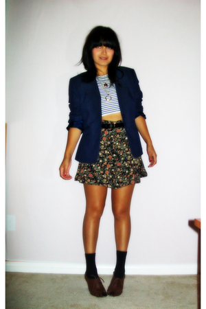 vintage nine west blazer - Mossimo top - vintage skirt - Urban Outfitters shoes