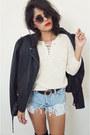 Laceupcream-vintage-sweater-cutoffs-levis-shorts
