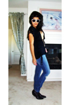 vintage jeans - top - Urban Outfitters glasses - vintage boots